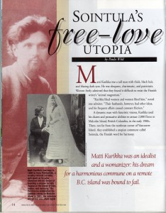 "First page of the article ""Sointula's free love utopia"""